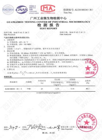 空气治理产品检测报告